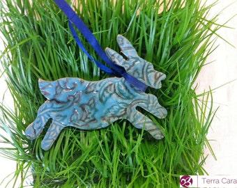 Set of 4 Ceramic Easter Bunnies - Easter Decoration - Ceramic decoration ~ hanging hare - Easter bunny decoration - Easter gift