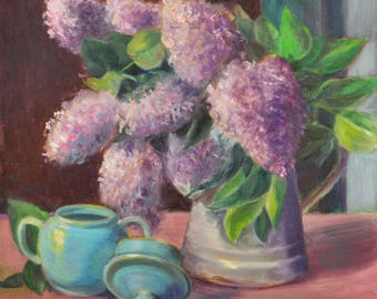 Flower Art Print, Lilacs Still Life Art, Gift for Mom, Mother's Day, Flower Art, Floral Print, Home Decor Wall Art, Floral Oil by P. Tarlow