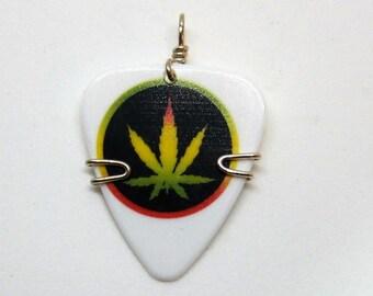Rasta Marijuana Leaf - Guitar Pick Jewelry