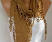 ON SALE --- Dark Camel Scarf Winter Accessories Pashmina Scarf  Cowl Scarf Shawl Gift Ideas For Her  Women's Fahion Accessories