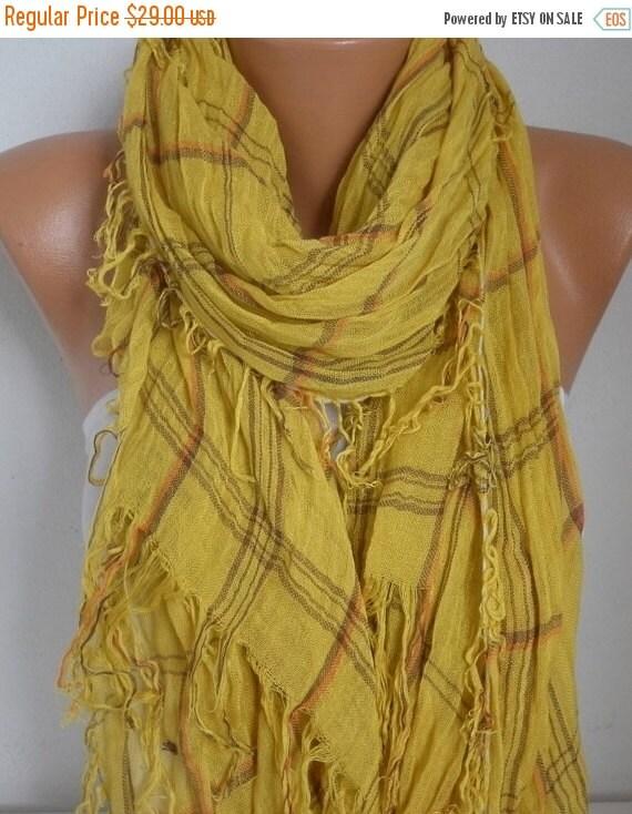 ON SALE --- Mustard Cotton Tartan Scarf, Fall Winter Fashion, Shawl, Plaid,Cowl Bridesmaids Gift Gift Ideas For Her Women Fashion Accessorie