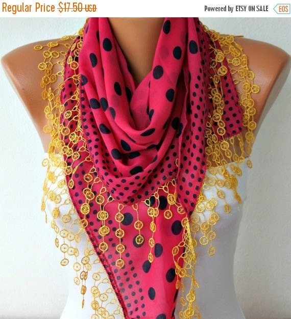 ON SALE --- Hot Pink  & Yellow Black Polka Dot Scarf,bohemian,Oversize Scarf  Cotton Scarf - Cowl Gift Ideas For Her  Women Fashion Accessor