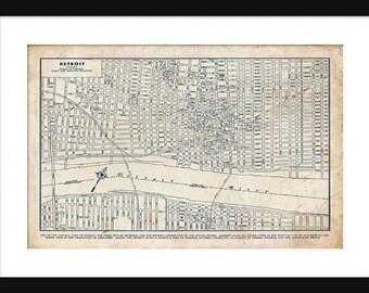 Detroit Street Map Vintage Print Poster Blueprint Grunge