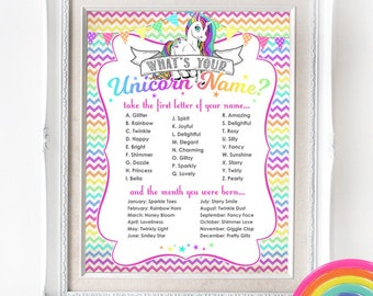 Unicorn Name Poster - INSTANT DOWNLOAD - Party Sign / Rainbow / Girls Birthday / Baby Shower / Printable Sign / Party Decor
