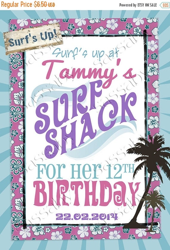 ON SALE Vintage Surfer Girl Poster Sign - INSTANT Download - Diy Editable & Printable Birthday Decorations Birthday Party by Sassaby