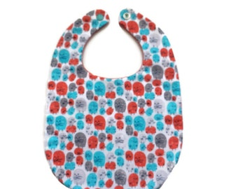 Unisex Baby Bib - Orange and Aqua Critters - Baby Shower Gift - Baby Gift Under 15