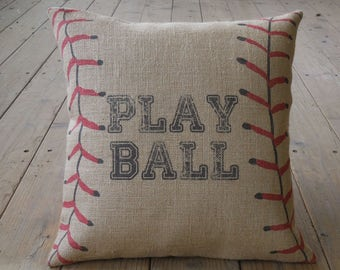 Play Balll Burlap Pillow, Take me out to the Ball Game, 17 inch square, Baseball, INSERT INCLUDED