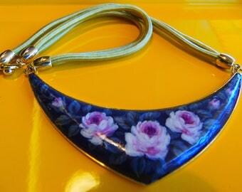Vintage impressionism hand painted pendant necklace