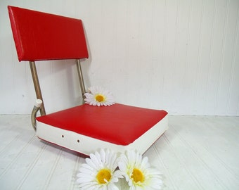 Vintage Stadium Booster Seat Red & White Padded Cushion Comfortable Chair with Back Attaches to Bench - Retro Kimberly Rose Co Fishing Stool