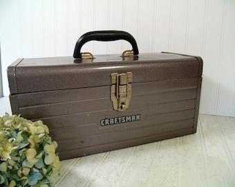 Craftsman Tool Chest Large Heavy Duty Hammered Metallic Brown Enamel Metal - Vintage Craftsman Supply Box - Artisan Tools & Supplies Case