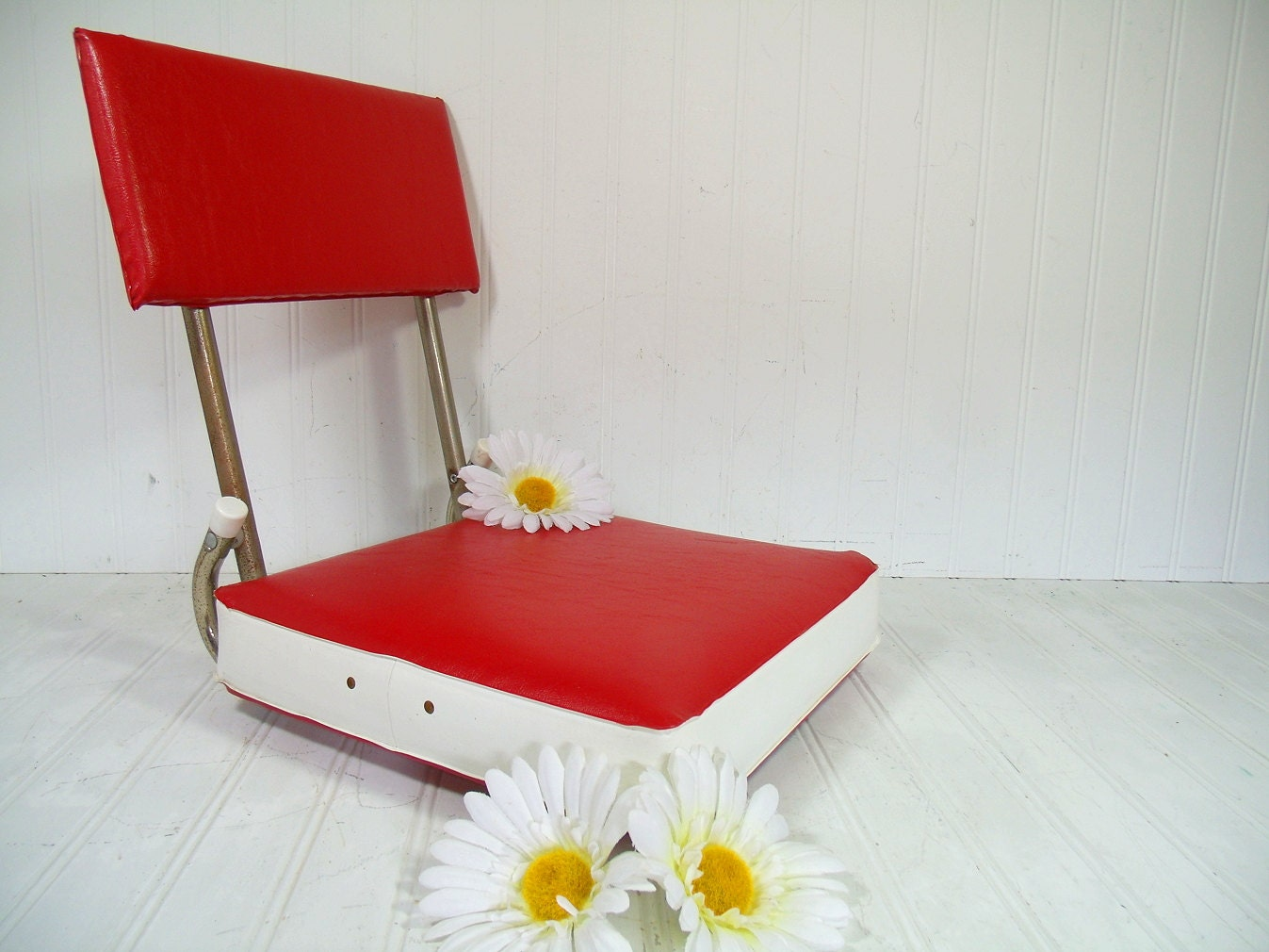 Stadium Booster Seat Red Amp White Padded Cushion Vintage