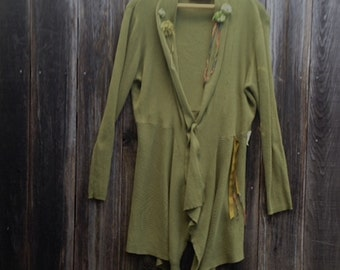 CUSTOM example  made to order eco upcycled olive green moss flowy rustic shabby boho bridesmaid wedding sweater tunic cardigan