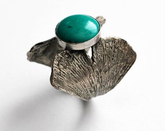 Cast Sterling Silver Ginko Biloba Leaves and Turquoise Statement Ring, size 7