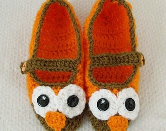 Crochet Owl Slippers Pattern Only