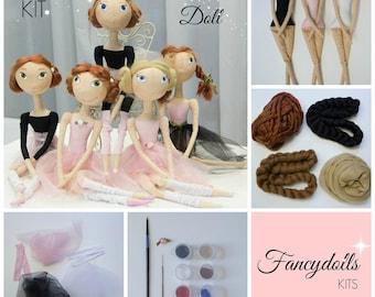 DIY Doll Making KIT Ballerina: blank body, tutorial and materials. EASY No sewing skills!