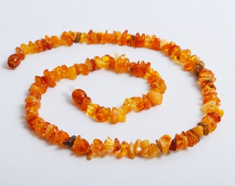 New genuine Baltic Amber beaded necklace,  yellow Baltic amber chip beads 16 inch (4)