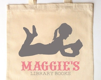 Little Reader Silhouette - Library Tote for Kids - Custom Printed Library Book Bag - Children's Tote Bag - I love Reading