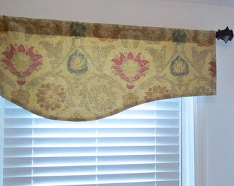 Floral Damask Shaped or Straight Valance   Gold  Buccini THIBAUT  125th Anniversary Coll Linen Cotton F96053