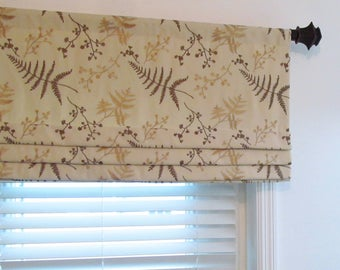 Floral Embroidered Faux Roman Shade Antique Gold Leaves Beige Tan Natural Carnegie Hill/ Travertine by Robert Allen Custom Sizing Available!