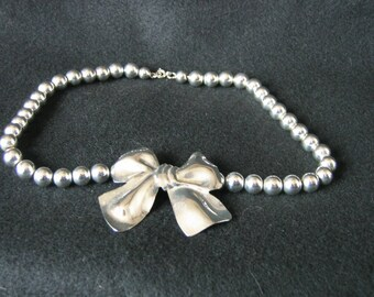Vintage Silverplate Bead and Bow Necklace