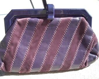 Purple Leather and Suede Clutch Lucite Closure, by La Regale LTD