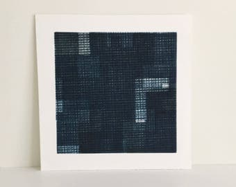 """SUMMER SALE - 40% OFF. use code { EOS40}. Fine Art Etching . Minimalist. Blue and Black Print: """"Intersection 10""""  Size 14"""""""" x 14"""". unframed"""
