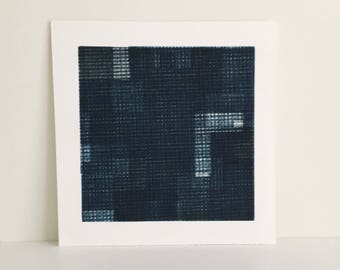 "Fine Art Etching . Minimalist. Blue and Black Print: ""Intersection 10""  Size 14"""" x 14"". unframed"