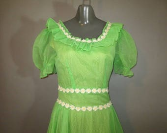Vintage 1970's Maxi Dress // Green Nylon, Dotted Swiss // White Daisy Trim, Short Puffed Sleeves, Ruffled Neck