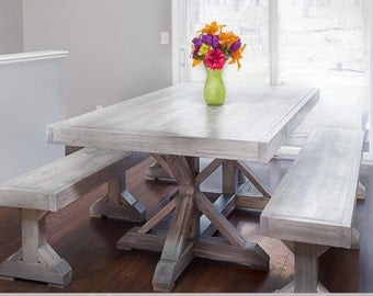 Trestle farmhouse bench