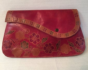 Vintage Hand Tooled Red Floral Leather Clutch