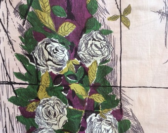 Two available Curtain/ piece Vintage Cotton abstract Rose fabric in Purple, pink, green and black