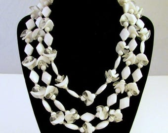 ON SALE West Germany Triple Strand Beaded Necklace - White and Clear Beads - Adjustable Bib