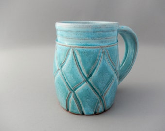 Large Ceramic Coffee Mug - Turquoise Glazed Terracotta