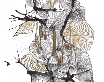 Contemporary Abstract Art - Black, White & Gold - Ink, Pen and Gold Leaf on Bristol Paper