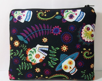 """Padded Pipe Pouch, Day of the Dead, Pipe Bag, XL Pipe Case, Padded Pouch, Stoner Gift, Sugar Skull Bag, Zipper Pouch, 7.5"""" x 6"""" - X LARGE"""