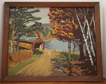 Vintage Framed Paint By Number Covered Bridge Aspen Trees Country Road