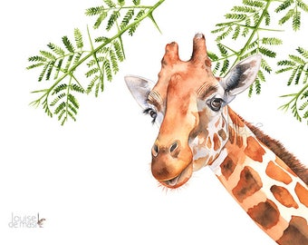 Giraffe print of watercolor painting G21817, 5 by 7 size, Giraffe watercolor painting print, African animal print, jungle print