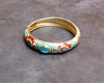 Vintage Traditional Indian Brass Enamelled Turquoise Stone Hinged Bracelet