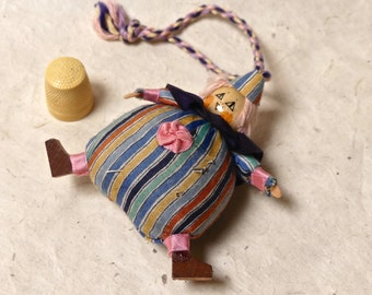 Vintage Art Deco Early Century Home Made Clown Doll Pin Cushion