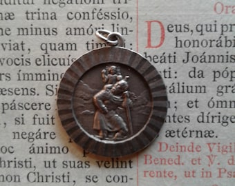 Vintage Saint Christopher Religious Medal - sterling silver