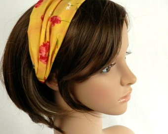 HEADBAND SALE Yellow Cotton Headband With Painted Look Red Flowers, Blue Flowers and White Daisies Summer Hair Fashion Handmade by Thimbledo
