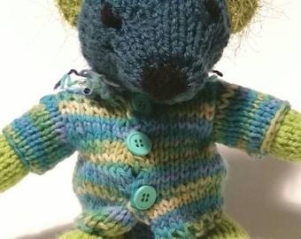 Clover The Hand Knit Wool Stuffed Irish Teddy Bear With Sweater