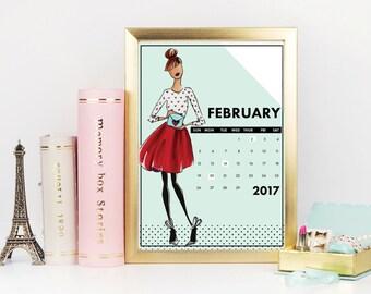 2017 Calendar, Fashion Calendar, custom calendar, desk decor, small calendar