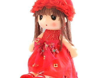 Red Lovely Flower Girl Doll