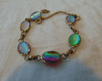 vintage aurora borealis crystal bracelet ribbed colorful unused bezel set