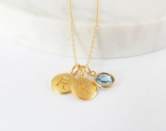 SALE 2 Gold Initial & Birthstone Charm Necklace - Birthstone Necklace - Custom Initial Necklace - Personalized Jewelry