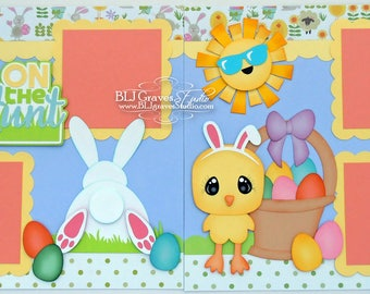 2 Premade Easter Egg Hunt Bunny Scrapbook Pages 12x12 Layout Paper Piecing Handmade 47