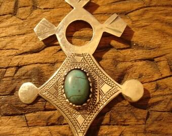 Niger Tuareg large hand engraved tarnished turquoise  pendant