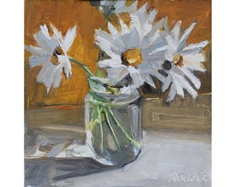 Daisies in a Jelly Jar, Summer Bouquet in White and Gold