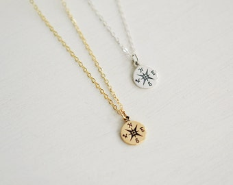 Compass necklace, Graduation Gift, Compass Charm Necklace, Graduation 2014, Sterling Silver Copmass Charm, Gold Compass Necklace